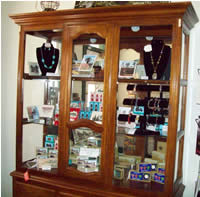 display case of things for sale